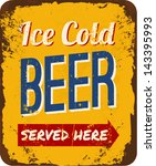 vintage metal sign 'ice cold... | Shutterstock .eps vector #143395993