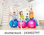 cheerful kids on large gym... | Shutterstock . vector #143402797