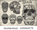 hand drawn vector skulls pack