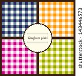set of gingham plaid seamless... | Shutterstock .eps vector #143446573