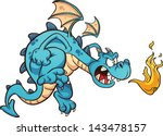 fire breathing cartoon blue... | Shutterstock .eps vector #143478157