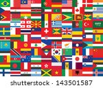 seamless background with some of world flags - stock vector
