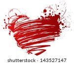 red grunge heart with floral...