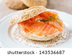 fresh bagel with cream cheese... | Shutterstock . vector #143536687