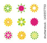 Stock vector flowers nature logo symbol and icons colorful 143557753