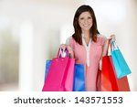 woman shopping with bags at the