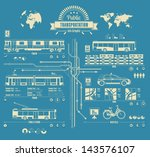 Public transportation info graphic,city, vector background, - stock vector
