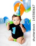 babies' first birthday one year ... | Shutterstock . vector #143580667
