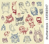owl doodle collection   hand... | Shutterstock .eps vector #143583547