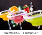 fruit cocktails on black... | Shutterstock . vector #143602837