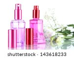 perfume in bottles and flowers... | Shutterstock . vector #143618233