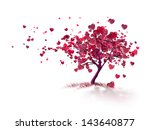 love tree with flying hearts | Shutterstock . vector #143640877