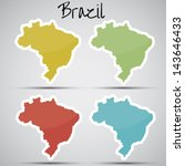stickers in form of brazil | Shutterstock .eps vector #143646433