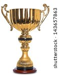photo of a large gold trophy on ... | Shutterstock . vector #143657863