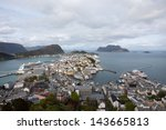 lesund is a city on the... | Shutterstock . vector #143665813