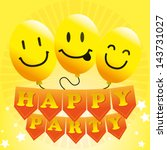 happy party over yellow... | Shutterstock .eps vector #143731027