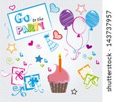 go to the party over dotted... | Shutterstock .eps vector #143737957