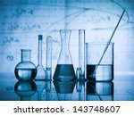 group of laboratory flasks... | Shutterstock . vector #143748607