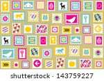 postage stamps kraft... | Shutterstock . vector #143759227