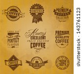 set of vintage retro coffee... | Shutterstock .eps vector #143761123