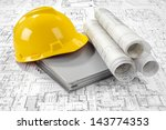 yellow helmet  grey folder... | Shutterstock . vector #143774353