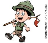 vector illustration of boy scout | Shutterstock .eps vector #143776303