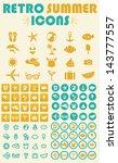 retro summer icons set | Shutterstock .eps vector #143777557