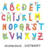funny alphabet for kids with...   Shutterstock .eps vector #143784097