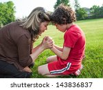 single mother and child in... | Shutterstock . vector #143836837