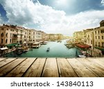 Venice  Italy And Wooden Surface