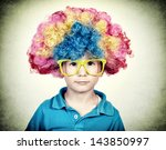 Little Boy Wearing Clown Wig I...