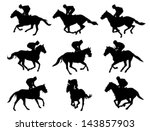 racing horses and jockeys... | Shutterstock .eps vector #143857903
