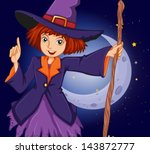 illustration of a witch holding ... | Shutterstock .eps vector #143872777