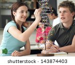 happy teenage students... | Shutterstock . vector #143874403