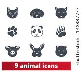 Stock vector animal icons vector set of signs of wild and domestic creatures 143887777