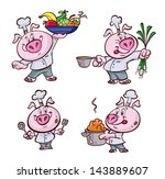 a nice fat pig cooking   Shutterstock .eps vector #143889607