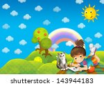 the child in the park   drawing ... | Shutterstock . vector #143944183
