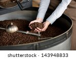 close up view of roasted coffee ...