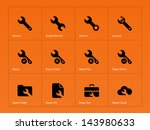 repair wrench icons on orange...