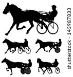 trotters race silhouettes | Shutterstock .eps vector #143987833