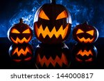group pumpkins for halloween on ... | Shutterstock . vector #144000817