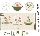 Set Of Flowers Shop Labels And...