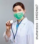 female doctor using stethoscope ... | Shutterstock . vector #144024667