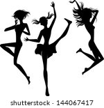 Silhouette Jumping Cheerful...