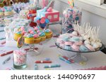baby shower and sweets on the... | Shutterstock . vector #144090697