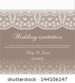 wedding invitation decorated... | Shutterstock .eps vector #144106147