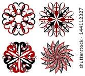 set of round tribal tattoo...   Shutterstock .eps vector #144112327