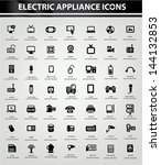 electronics icon set black... | Shutterstock .eps vector #144132853