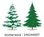 Set Of Christmas Fir Trees Wit...