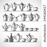 sketches of coffee objects.... | Shutterstock .eps vector #144160417
